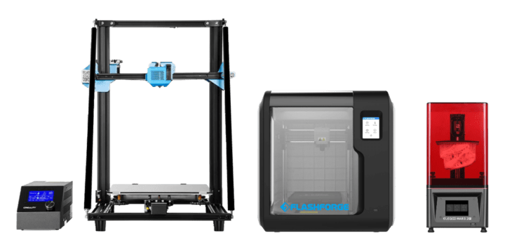 The types of 3D printers that you'll find in our makerspace / hackerspace. Pictured is a Reality CR-10, Flashforge Adventurer 3 and Elegoo Mars 2 Pro.